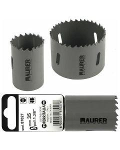 Maurer frese a tazza Hss bimetalliche in kit da 8 pezzi. Kit composto da 6 frese (mm 22 - 29 - 35 - 44 - 51 - 64) e 2 alberi.