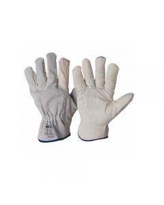 Maurer guanti da lavoro in pelle fiore di bovino e dorso in crosta colore bianco