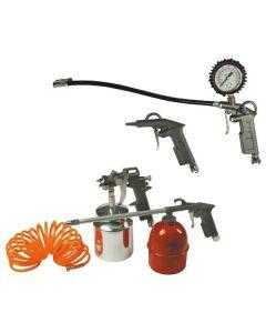 Maurer kit di accessori per aria compressa. Kit composto da: pistola per soffiaggio, pistola per gonfiaggio con manometro, pistola per lavaggio, aerografo con serbatoio inferiore, tubo a spirale di lunghezza 5 metri. Codice EAN 8000071829632 .