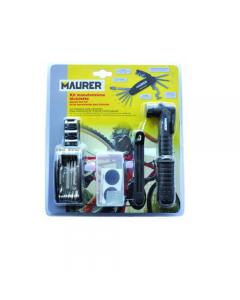 Maurer kit per la manutenzione della bicicletta sottosella. Composto da minimpompa, pezze adesive, chiave multifunzione da 16 utensili, 2 levagomme, borsa sottosella.