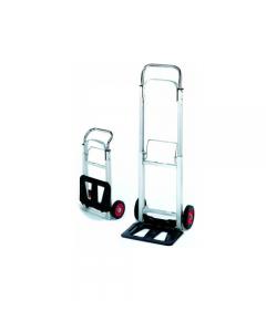 Maurer Libra carrello estensibile per trasporto merci. Telaio in alluminio ed acciaio. Dimensioni carrello cm 39 x 39 x h 110. Piano di appoggio ribaltabile cm 35 x 24. Ruote in gomma nylon di diametro mm 160. Portata 90 kg.
