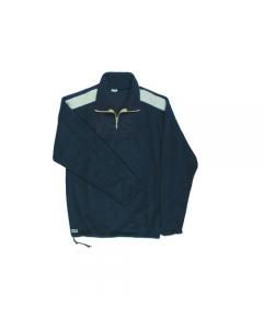 Maurer Mira maglione in pile colore blu con inserti in cotone beige 100% in poliestere con chiusura con zip corta