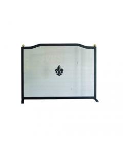 Maurer parascintille per camino cm 44 x h 40 rettangolare con griglia in lamiera stirata fregi e montanti in acciaio verniciato colore nero opaco