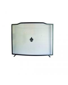 Maurer parascintille per camino cm 80 x h 62 rettangolare curvo con griglia in lamiera stirata fregi e montanti in acciaio verniciato colore opaco