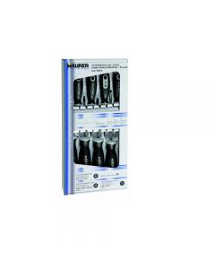Maurer Plus cacciavite con manico grigio in serie da 8 pezzi misti. Lama in acciaio S2 al molibdeno. Punte con trattamento termico al manganese. Impugnatura ergonomica in materiale bicomponente antisdrucciolevole. Composizione set: 3 a taglio, 2 a croce,