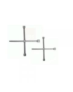 Maurer Plus chiave a croce per dadi ruote automobili in acciaio al cromo vanadio. 3 bocche esagonali e 1 quadro maschio.