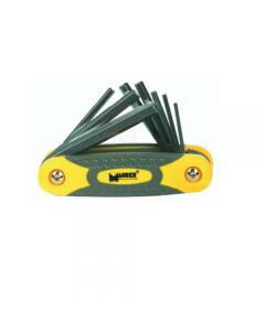 Maurer Plus serie di chiavi maschio esagonale pieghevoli 8 pezzi. in acciaio al cromo vanadio. mm 2,5 - 3 - 4 - 5 - 6 - 7 - 8 - 10. 6 pezzi.