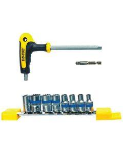 """Maurer Plus set di 10 bussole composto da impugnatura in acciaio S2 satinato e 7 bussole mm 4 - 5 - 5,5 - 6 - 8 - 10 - 12 + 2 adattatori. attacco 1/4""""."""