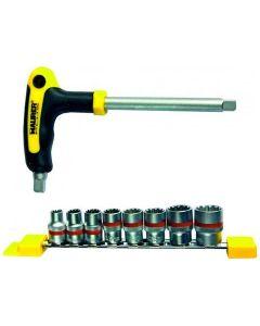 """Maurer Plus set di 9 bussole poligonali. Composto da impugnatura in acciaio S2 satinato e 8 bussole mm 8 - 10 - 11 - 12 - 13 - 14 - 17 - 19. Attacco 3/8""""."""