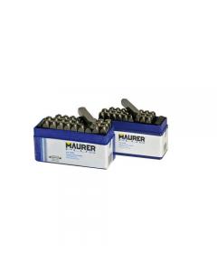 Maurer punzoni a lettere in serie in acciaio temperato. Confezione inscatola in pvc.