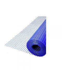 Maurer rete portaintonaco in fibra di vetro colore blu rotolo lunghezza 50 metri maglia mm 10 x 10 resistenza 110 grammi / metro quadro altezza cm 100