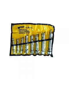 Maurer serie di chiavi a tubo da 8 pezzi da mm 6 x 7 a mm 20 x 22. In acciaio al cromo vanadio.