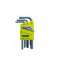 Maurer serie di chiavi maschio esagonali 9 pezzi. In acciaio al cromo vanadio satinato. mm 1,5 - 2 - 2,5 - 3 - 4 - 5 - 6 - 8 - 10. 6 confezioni.