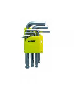 Maurer serie di chiavi maschio esagonali con testa sferica 9 pezzi. In acciaio al cromo vanadio satinato. mm 1,5 - 2 - 2,5 - 3 - 4 - 5 - 6 - 8 - 10. 6 pezzi.