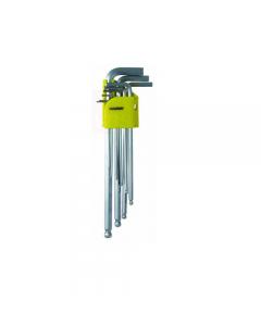 Maurer serie di chiavi maschio esagonali piegate e lunghe a testa sferica 9 pezzi. in acciaio al cromo vanadio satinato. mm 1,5 - 2 - 2,5 - 3 - 4 - 5 - 6 - 8 - 10.