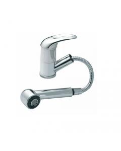 """Maurer Sorgente rubinetto miscelatore per lavello cucina con doccetta telescopica in ottone cromato completo di tubi flex 3/8"""" femmina"""