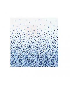 Maurer tenda per doccia fantasia pietre blu completa di ganci di fissaggio in tessuto poliestere impermeabile