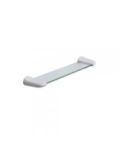 Metaform Evy mensola da bagno in abs e vetro colore bianco cm 46,5 x 11,5 x h 5
