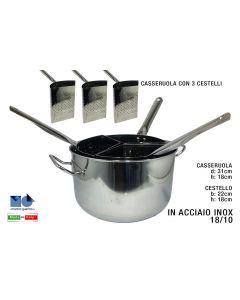 Minox pentola 3 cestelli scolapasta acciaio inox piano induzione