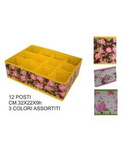 Ordinett contenitore portaoggetti 12 posti in tnt cm 32 x 22 x h 9 fantasia rose
