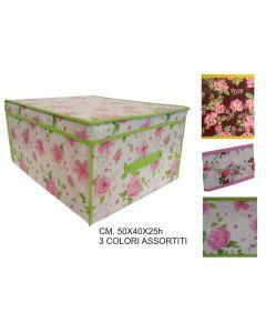 Ordinett scatola contenitore portabiancheria portatutto portaoggetti porta giocattoli in tnt cm 50 x 40 x altezza 25 fantasia rose