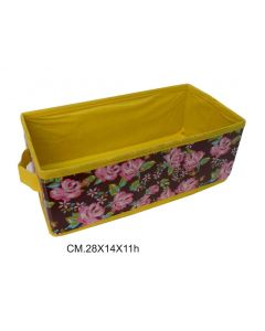 Ordinett scatola porta binacheria, oggetti, giocattoli, portatutto, contenitore, svuota tasche in tnt. Dimensioni  cm 28 x 14 x h 11. Fantasia rose