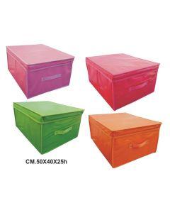 Ordinett scatola portabiancheria in tnt cm 50 x 40 x 25. Contenitore disponibile in colore rosa, fucsia, verde, arancio.