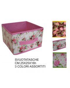 Ordinett svuotatasche contenitore scatola porta oggetti, porta biancheria, porta giocattoli, portatutto. Dimensioni cm 25 x 25 x h 16. Fantasia rose.