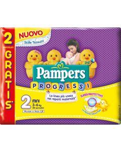 Confezione da 30 pannolini prodotti da Pampers, linea Progressi. Adatti per bambini di peso da 3 a 6 kg. Pensato per i primi mesi di vita.