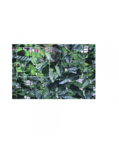 Papillon arella ombreggiante foglie di lauro. Schermatura totale composta da foglie di lauro in tessuto plastificato, colore verde scuro, sostenute da una rete in plastica a maglia quadra. Disponibile in dimensioni metri 1 x 3, metri 1,5 x 3, metri 2 x 3.