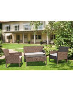Papillon Atrani set in polyrattan da giardino esterno bordo piscina terrazzo bar locale pubblico divano poltroncine tavolino cuscini