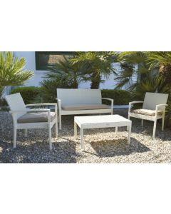 Papillon Linosa set da giardino in polyrattan 1 divanetto 2 sedie 1 tavolino bianco o marrone