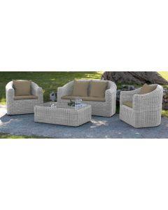Papillon Lipari set da giardino terrazzo esterno in polyrattan divano tavolino 2 poltroncine