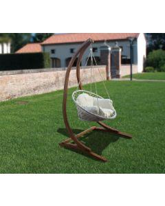 Papillon Ortigia dondolo per giardino con supporto in legno di larice completo di sedia con cuscini. Codice EAN 8000071944762 .