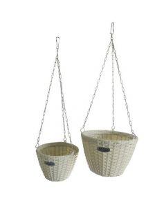 Papillon Peonia coppia di vasi pensili da giardino colore bianco. EAN 8000071953771