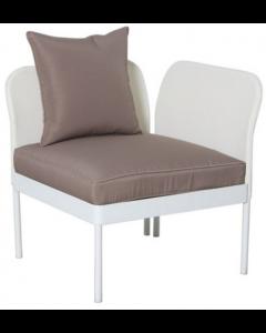 Papillon Perla divano modulare giardino, terrazzo in acciaio e textilene.  Divano angolare con struttura in acciaio verniciato colore bianco. Seduta in textilene. Dimensioni cm 73 x 73 x h 75. Codice EAN 8000071955744.