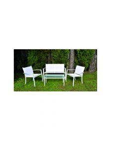 Papillon Sunset salottino in textilene da giardino. Salottino per giardino composto da 2 sedie, 1 panchina, 1 tavolino con vetro. In acciaio verniciato bianco. Seduta in textilene bianco. Sedia con braccioli impilabile cm 60,5 x 59 x h 75. Panchina cm 112