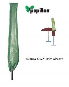 Papillon telo di copertura per ombrellone di dimensioni diametro cm 48 x altezza 210. Telo in polietilene con occhielli in alluminio e cordoncino in nylano per il fissaggio. Codice EAN 8000071949965