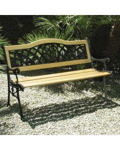 Papillon Tucson panchina da giardino in legno e ghisa cm 126 x 62