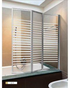 parete vasca da bagno box doccia cristallo serigrafato 3 ante cm 130 x h 140 installazione destrorsa e sinistrorsa