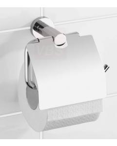 Porta rotolo carta igienica da bagno con copertura in acciaio cromato mm 166 x 20 x 90