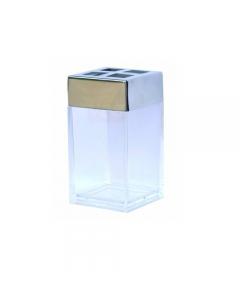 Porta spazzolino contenitore in plastica trasparente coperchio in acciaio cromato cm 6 x 6 x h 11