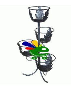 porta vaso fioriera sotto vaso portavasi per giardino terrazzo 4 posti in ferro battuto nero cm 44 x h 78