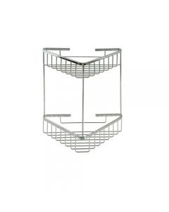 Portaoggetti ad angolo per il bagno 2 ripiani in acciaio inox cromato cm 19 x 19 x h 35