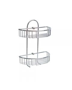 Portaoggetti da bagno a 2 ripiani ovali in acciaio inox cromato cm 27 x 15 x h 37