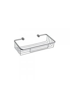 Portaoggetti da bagno in acciaio inox cromato cm 27 x 11,7 x h 6,4