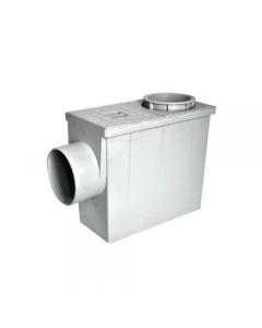 Pozzetto pluviale con raccordi in speciali resine termoplastiche. Raccordi di diametro mm 80 e 100. Uscita diametro mm 100.