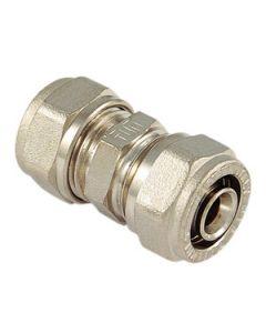 Raccordo a stringere diritto doppio in ottone diametro mm 20 x 20  per tubi multistrato intermedi. Prezzo riferito a 5 confezioni da 50 pezzi ciascuna. Codice EAN 8027830208408.