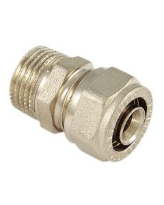 Raccordo diritto in ottone a stringere diametro mm 26 x 3 quarti per tubi multistrato attacco maschio Codice EAN 8027830337221