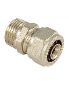 """Raccordo diritto in ottone diametro mm 20 x 1/2"""" per tubi multistrato. A stringere. Attacco maschio. Prezzo riferito a 10 cofezioni da 100 pezzi ciascuana. Codice EAN 8027830337184"""